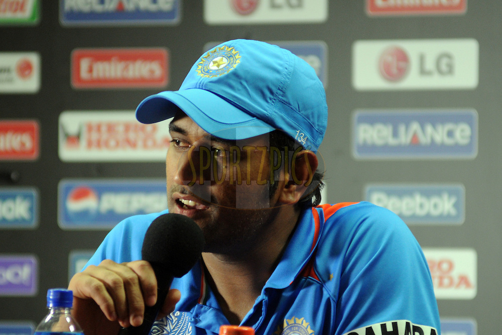 Mahendra Singh Dhoni captain of India during a press conference after the ICC Cricket World Cup match between India and England held at the M Chinnaswamy Stadium in Bengaluru, Bangalore, Karnataka, India on the 27th February 2011..Photo by Pal Pillai/BCCI/SPORTZPICS
