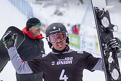 Edwin Coratti (ITA), celebrating during Final Run at Parallel Giant Slalom at FIS Snowboard World Cup Rogla 2019, on January 19, 2019 at Course Jasa, Rogla, Slovenia. Photo byJurij Vodusek / Sportida
