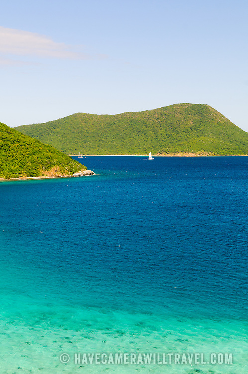 View over Leinster Bay toward (l to r) Mary Point, Great Thatch Island, and, in the distance to the right, Jost Van Dyke in the British Virgin Islands.
