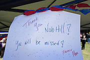 Children shared drawings during a Nob Hill Foods farewell BBQ at Strickroth Park in Milpitas, California, on May 15, 2016. (Stan Olszewski/SOSKIphoto)