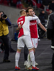 13-03-2019 NED: Ajax - PEC Zwolle, Amsterdam<br /> Ajax has booked an oppressive victory over PEC Zwolle without entertaining the public. Daley Blind scored the winning goal five minutes before the end of the Johan Cruijff Arena: 2-1 and celebrate with Noa Lang that gives the assist