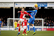 Peterborough Utd's Daniel Lafferty (18) climbs highest during the EFL Sky Bet League 1 match between Peterborough United and Charlton Athletic at London Road, Peterborough, England on 26 January 2019.