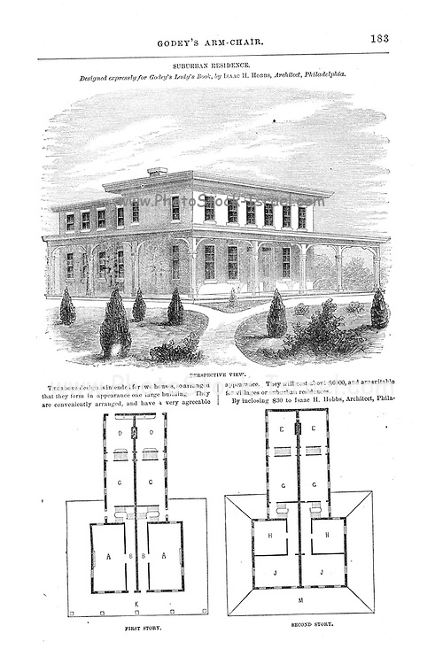 Suburban Residence, Floor Plan layout from Godey's Lady's Book and Magazine, August, 1864, Volume LXIX, (Volume 69), Philadelphia, Louis A. Godey, Sarah Josepha Hale,