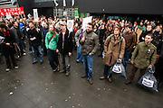 Een paar honderd studenten demonstreren op de studentencampus De Uithof in Utrecht tegen de voorgenomen bezuinigingen op het onderwijs...Around hundred students are demonstrating at the university campus Uithof in Utrecht against the cutbacks on education.