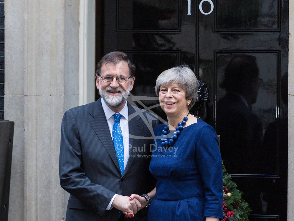 London, December 05 2017. Spanish Prime Minister Mariano Rajoy is welcomed at 10 Downing Street by British Prime Minister Theresa May. © Paul Davey