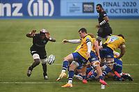 Rugby Union - 2019 / 2020 Gallagher Premiership - Round 22 - Saracens vs Bath - Allianz Park<br /> <br /> Bath Rugby's Ben Spencer under pressure from Saracens' Joel Kpoku.<br /> <br /> COLORSPORT/ASHLEY WESTERN