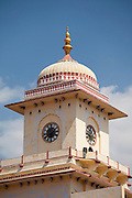 Clock Tower (20th Century) of stone and lime plaster at The Maharaja of Jaipur's Moon Palace in Jaipur, Rajasthan, India