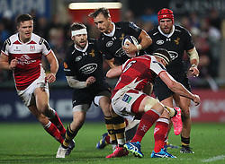 Wasps' Josh Bassett and Ulster's Robbie Diack during the European Champions Cup pool one match at Kingspan, Belfast.
