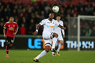 Leroy Fer of Swansea city in action.   EFL Carabao Cup 4th round match, Swansea city v Manchester Utd at the Liberty Stadium in Swansea, South Wales on Tuesday 24th October 2017.<br /> pic by  Andrew Orchard, Andrew Orchard sports photography.