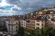 Lyon, France--November 6, 2017--Overlooking the Old City section of Lyon. The Basilica of Notre-Dame de Fourviere is in the background at the top of the hill. Editorial Use Only.