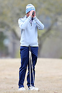 WILMINGTON, NC - MARCH 19: North Carolina's William Register lines up his tee shot on the Marsh Course second hole. The first round of the 2017 Seahawk Intercollegiate Men's Golf Tournament was held on March 19, 2017, at the Country Club of Landover Nicklaus Course in Wilmington, NC.