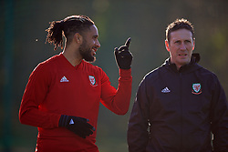 CARDIFF, WALES - Sunday, November 18, 2018: Wales' captain Ashley Williams and head of performance Tony Strudwick during a training session at the Vale Resort ahead of the International Friendly match between Albania and Wales. (Pic by David Rawcliffe/Propaganda)