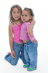 Portrait of little girls in the studio,