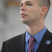 2/7/11 -- BRUNSWICK, Maine.  Brunswick Representative Alex Cornell Du Houx listens to Governor Paul LePage on Monday. The U. S. Navy passed the Hangar 6 over to the MRRA today in a ceremony attended by Maine Governor Paul LePage, Congresswoman Chellie Pingree and a host of other members of local and state government. Roger S. Duncan Photo / For The Forecaster