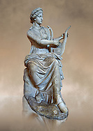 Roman stuate from the time of Hadrian of the muse Tersichore, inv 308, Vatican Museum Rome, Italy,  art background ..<br /> <br /> If you prefer to buy from our ALAMY STOCK LIBRARY page at https://www.alamy.com/portfolio/paul-williams-funkystock/greco-roman-sculptures.html . Type -    Vatican    - into LOWER SEARCH WITHIN GALLERY box - Refine search by adding a subject, place, background colour, museum etc.<br /> <br /> Visit our CLASSICAL WORLD HISTORIC SITES PHOTO COLLECTIONS for more photos to download or buy as wall art prints https://funkystock.photoshelter.com/gallery-collection/The-Romans-Art-Artefacts-Antiquities-Historic-Sites-Pictures-Images/C0000r2uLJJo9_s0c
