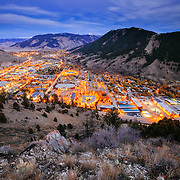 An aerial perspective of the town of Jackson, Wyoming at night.