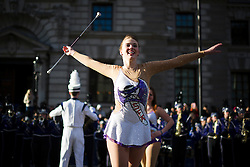"""© London News Pictures. 01/01/2013. London, UK.  The Stephen F Austin State University """"Lumberjack"""" Marching Band from the USA take part in the 2012 New Years Parade through the centre London on January 1st, 2013. Photo credit : Ben Cawthra/LNP"""