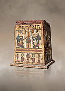 Ancient Egyptian pylon (gateway) shaped Canopic chest for internal organs, wood, Late  to Ptolemaic Period(722-40 BC), Egyptian Museum, Turin. Old Fund Cat 2427. <br /> <br /> Canopic chests are cases used by Ancient Egyptians to contain the internal organs removed during the process of mummification. .<br /> <br /> If you prefer to buy from our ALAMY PHOTO LIBRARY  Collection visit : https://www.alamy.com/portfolio/paul-williams-funkystock/ancient-egyptian-art-artefacts.html  . Type -   Turin   - into the LOWER SEARCH WITHIN GALLERY box. Refine search by adding background colour, subject etc<br /> <br /> Visit our ANCIENT WORLD PHOTO COLLECTIONS for more photos to download or buy as wall art prints https://funkystock.photoshelter.com/gallery-collection/Ancient-World-Art-Antiquities-Historic-Sites-Pictures-Images-of/C00006u26yqSkDOM