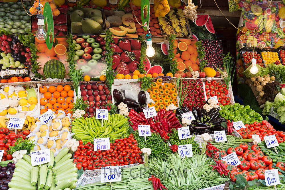 Fresh fruit vegetables tomato pimento oranges courgettes beans Turkish lira prices at food market Kadikoy Asian Istanbul Turkey