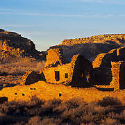 Ancient Pueblo Bonito still stands guard in Chaco Culture National Historic Park, NM.