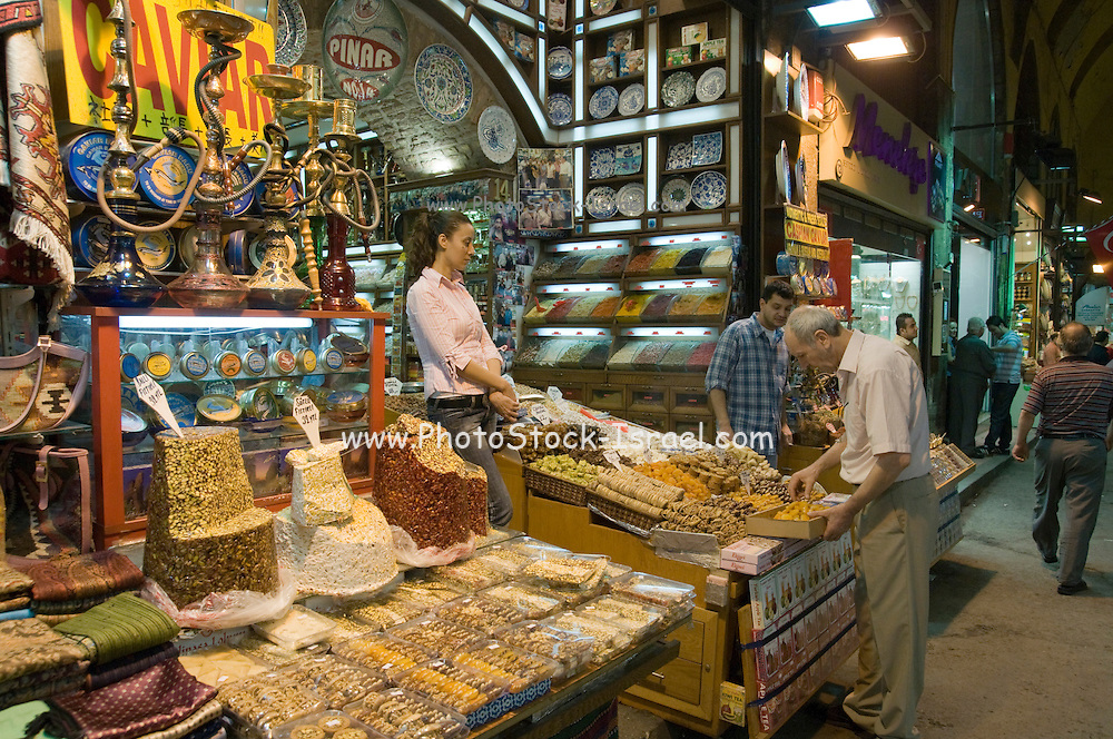 Turkey, Istanbul, The Spice Bazaar a spice stall
