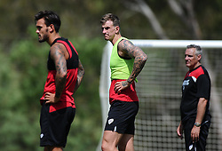 Marlon Pack of Bristol City (left) and Aden Flint of Bristol City (centre)  - Photo mandatory by-line: Joe Meredith/JMP - Mobile: 07966 386802 - 16/07/2015 - SPORT - Football - Albufeira -  - Pre-Season Training