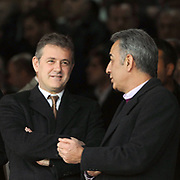 Mahmut OZGENER, president of the Turkish Football Federation (TFF) (L) and Turkish soccer club Galatasaray's president Adnan POLAT (R) during their Turkish superleague soccer derby match Galatasaray between Fenerbahce at the AliSamiYen Stadium at Mecidiyekoy in Istanbul Turkey on Sunday, 28 March 2010. Photo by TURKPIX