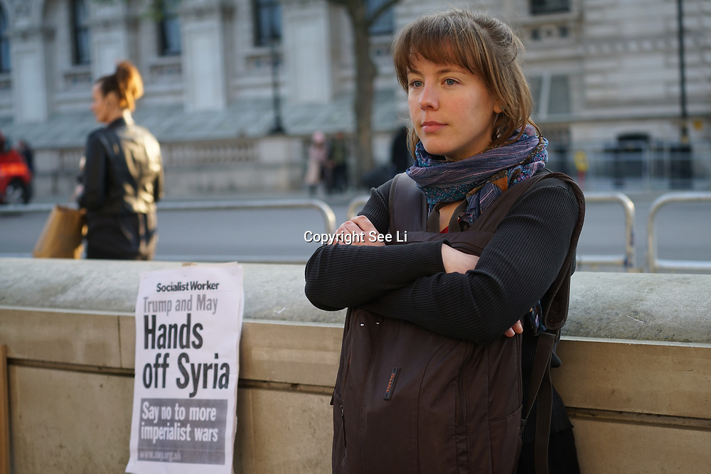 Downing Street, London, UK. 7th April 2017. Stop the War Coalition protests against fascist paranoid and a Islamophobic Donald Trump attack on Syria No facts, no investigation. No congress approval or UN opposite Downing Street demonstrating against the bombing in Syria by the US. by See Li