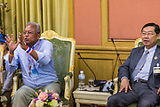12 MAY 2014 - BANGKOK, THAILAND: SUTHEP THAUGSUBAN (left) meets with SURACHAI LIANGBOONLERTCHAI, the Speaker of the Thai Senate, in a meeting room in the Parliament building in Bangkok. Several thousand protestors with the People's Democratic Reform Committee (PDRC) blocked access to the Thai Parliament building in Bangkok as a part of their continuing anti-government protests. The Parliament is not currently in session and was dissolved by former Prime Minister Yingluck Shinawatra but the Senate is in session. The protestors are demanding that the Senate dissolve the current Pheu Thai caretaker government and appoint a new Prime Minister and cabinet. Members of the Senate leadership met with Suthep Thaugsuban Monday to discuss the impasse.   PHOTO BY JACK KURTZ