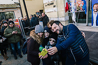 CESENATICO, ITALY - 5 JANUARY 2020: Matteo Salvini (center), former Interior Minister of Italy and leader of the far-right League party, takes a selfie with young  supporters during his campaign in Cesenatico, Italy, on January 5th 2020.<br /> <br /> Matteo Salvini is campaigning in the region of Emilia Romagna to support the League candidate Lucia Borgonzoni running for governor.<br /> <br /> After being ousted from government in September 2019, Matteo Salvini has made it a priority to campaign in all the Italian regions undergoing regional elections to demonstrate that, in power or not, he still commands considerable support.<br /> <br /> The January 26th regional elections in Emilia Romagna, traditionally the home of the Italian left, has been targeted by Matteo Salvini as a catalyst for bringing down the government. A loss for the center-left Democratic Party (PD) against Mr Salvini's right would strip the centre-left party of control of its symbolic heartland, and probably trigger a crisis in its coalition with the Five Star Movement.