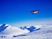 Hollis Twitchell flying Lake Clark National Park's Piper Super Cub over the Bonanza Hills in winter, Alaska.
