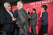 Former City financier Professor Avinash Persaud talks with John McDonnell MP, Shadow Chancellor of the Exchequer after launching a new policy paper in London on modernising the UKs existing financial transactions tax i.e. Robin Hood Tax on July 18th 2017 in London, United Kingdom. Speaking on a panel with Labours Shadow Chancellor John McDonnell, who has adopted the papers policy recommendations.