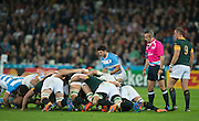 London, Great Britain,     Referee, John LACEY looks on as Tomas CUBELLI, feeds the ball into the scrum, during the South Africa vs Argentina. 2015 Rugby World Cup, Bronze Medal Match.Queen Elizabeth Olympic Park. Stadium, Stratford. East London. England,, Friday  30/10/2015. <br /> [Mandatory Credit; Peter Spurrier/Intersport-images]