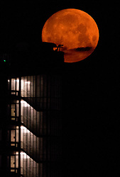 © Licensed to London News Pictures.  24/06/2021. London, UK. The full Strawberry Moon sets behind a building as seen from Hampstead Heath, north London. Photo credit: Marcin Nowak/LNP