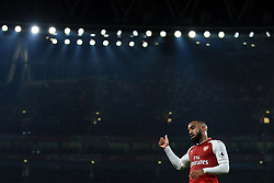 25 September 2017 -  Premier League - Arsenal v West Bromwich Albion - Alexandre Lacazette of Arsenal gives a thumbs up - Photo: Marc Atkins/Offside