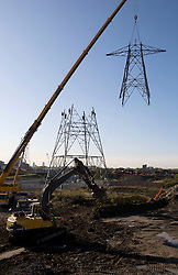 Olympic Village. View of crane and workers at height dismantling of YYJ chain National Grid pylon. Picture taken on 29 Oct 2008 by David Poultney.