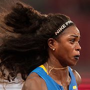TOKYO, JAPAN August 1:   Cateri Ibarguen of Colombia in the triple jump competition for women during the Track and Field competition at the Olympic Stadium  at the Tokyo 2020 Summer Olympic Games on July 31, 2021 in Tokyo, Japan. (Photo by Tim Clayton/Corbis via Getty Images)