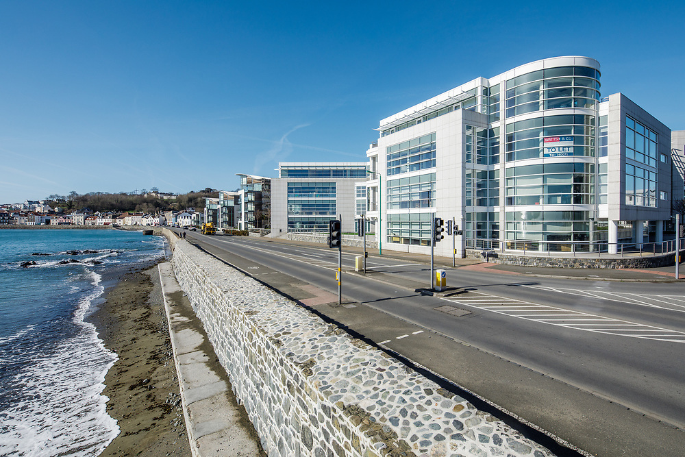 Martello Court, Admiral Park office buildings, located on the waterfront of the offshore finance district of St Peter Port, Guernsey, CI