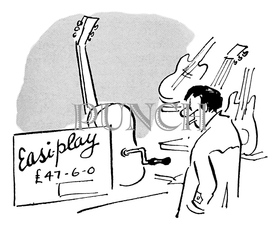 (Man looking at a wind-up 'Easi-play' guitar in a shop window)