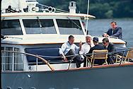 President H.W. Bush (Bush 41) and Boris Yeltsin talk on the deck off  a yacht on the Potomac River .<br />Photo by Dennis Brack