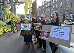 Pictured: Anti fracking demonstrators held a rally outside as delegates waited to go into the conference.<br /> <br /> The SNP held their spring conference at the EICC in Edinburgh, where independence and brevet were high on the agenda.<br /> <br /> © Dave Johnston / EEm
