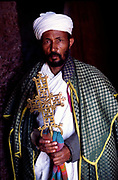 A priest with a distinctive Ethiopian cross, Lalibela, Ethiopia.