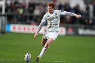 Rhys Patchell of Cardiff Blues scores a penalty kick.. Guinness Pro12 rugby match, Newport Gwent Dragons v Cardiff Blues at Rodney Parade in Newport, South Wales  on Sunday 27th December 2015.<br /> pic by  Andrew Orchard, Andrew Orchard sports photography.