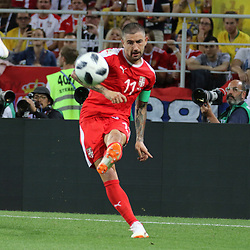 June 27, 2018 - Moscow, Russia - June 27, 2018, Russia, Moscow, FIFA World Cup 2018, First round, Group D, Third round. Football match Serbia - Brazil at the stadium of Spartak. Player of the national team; Aleksandar Kolarov. (Credit Image: © Russian Look via ZUMA Wire)