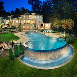 8541 Horseshoe Ln Potomac, MD Lewis Aquatech Pool swimming pool Swimming pool House rear exterior Deck patio Verandah Porch Pool pool house