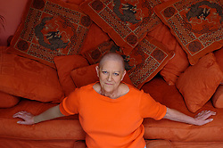 Myra Franks at home in Brighton, East Sussex on 27th March 2005 during chemotherapy at the London Oncology Centre in Harley Street.<br /> Photograph by Elliott Franks