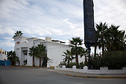 .A black tarp covers the sign at the former site of Auroma in Juarez Mexico of Saturday, Oct. 10, 2009..