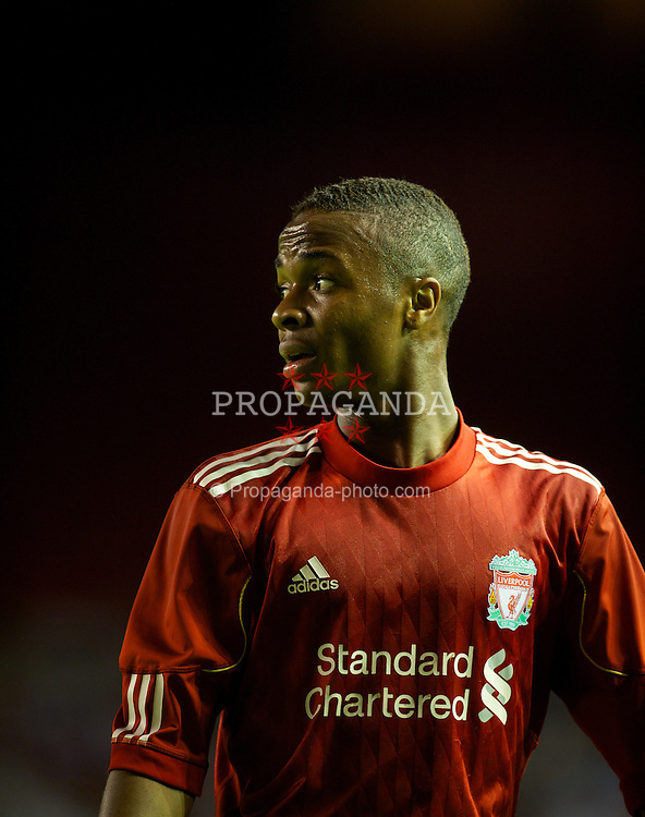 LIVERPOOL, ENGLAND - Thursday, September 29, 2011: Liverpool's Raheem Sterling looks dejected after missing a chance against Molde FK during the NextGen Series Group 2 match at Anfield. (Pic by David Rawcliffe/Propaganda)