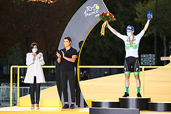 Anne Hidalgo, mayor of Paris and Deceuninck Quick step's rider Sam Benett winner of the stage 21, on the final podium of the Tour de France 2020, on Champs Elysees Avenue in Paris, on September 20, 2020. / Sportida