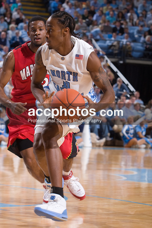 19 January 2008: North Carolina Tar Heels guard Quentin Thomas (11) during a 93-84 loss to the Maryland Terrapins at the Dean Smith Center in Chapel Hill, NC.